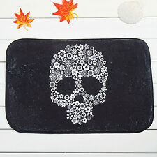 EG_ Cool Skull Floral Door Bath Non Slip Doormat Floor Mat Kitchen Home Rug Dain