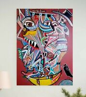 CORBELLIC ART Modern ABSTRACTION CANVAS WALL ART, LARGE, CRESCENT TOP Signed, US