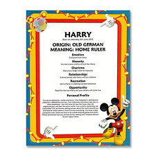 NAME MEANING PRINT Mickey Mouse Personalised Birthday Gift 1st 2nd 3rd 4th 5th