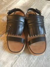 womens Zara black leather fringe kiltie sandals NEW US 9 or Size 40
