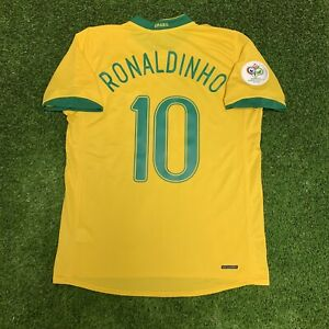 2006 Brazil Ronaldinho Jersey Shirt Kit Yellow Home Nike Large L Fifa World Cup