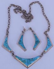 Fine big Hopi channel inlay Turquoise necklace earrings set – WILLIS HUMEYESTEWA