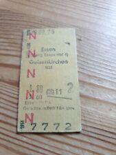 Deutsche Bahn Alte Personenzugkarte Essen nach Gelsenkirchen 1976