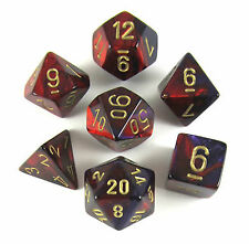 Chessex Polyhedral 7-Die Gemini Dice Set Purple Red with Gold CHX 26426