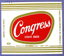 Haberle Congress Brewing Co CONGRESS LIGHT BEER label NY 11oz