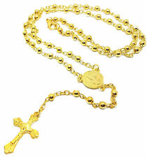 Gold Tone Rosary Baptism First Holy Communion Beads Girls Boys Necklace