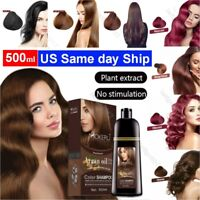 Mokeru 500ml Hair Color Shampoo Natural Organic Coconut Oil Essence Hair Dye New
