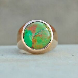 925 Sterling Silver Overlay Green Copper Turquoise Gemstone Signet Boy Mens Ring