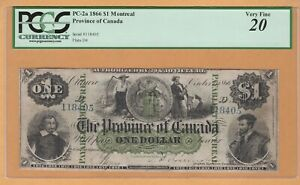 The Province of Canada Payable Montreal $1 1866 PC-2a PCGS-20 Very Fine Banknote