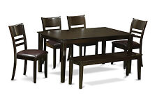 6pc Capri dining table with 4 Lynfield leather chairs & 1 bench in cappuccino