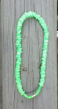 Puka Shell Necklace Green Choker Beach Hawaiian Screw Clasp