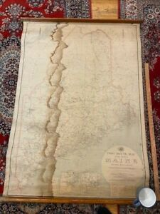"""1913 Maine Wall Map post office routes postal mail canvas backed 48.5 x 38.5"""""""