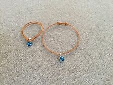 925 STERLING SILVER EVIL EYE GREEK MATI LIGHT  BLUE ADJUSTABLE  CORD BRACELET