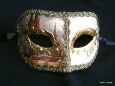 MASQUERADE PAPER MACHE CREAM & GOLD ANTIQUE'D MENS HALF MASK WITH VENICE PICTURE