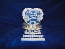 New Petite Happy Anniversary Caketopper with love Birds and Blue decor Rings