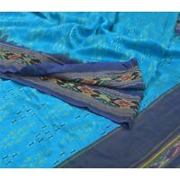 Sanskriti Vintage Pochampally Ikat Sarees Handwoven Pure Silk Blue Sari Fabric