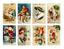 Vintage Postcard Stickers Vintage Victorian Christmas Children 16 Total