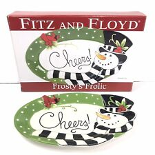 """Fitz and Floyd """"Frosty's Frolic"""" Sentiment Tray/ Oval Dish Snowman"""