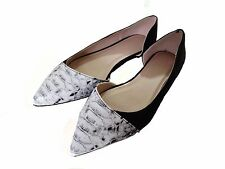 New Without Box Asos Women Shoes  Black Suede /Skin Print Pointy Toe Flats  5 US