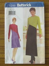 BUTTERICK PATTERN - 5259 LADIES DRESS ANGLE CONTRAST SPLICED 14 16 18 UNCUT