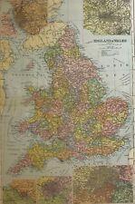 1898 ORIGINAL MAP ENGLAND & WALES LONDON BIRMINGHAM BRISTOL LIVERPOOL MANCHESTER