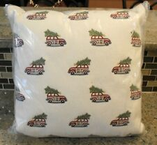 New Pottery Barn Embroidered Crewel MINI WOODY CAR Christmas Holiday Pillow 16""