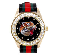 Gold Bling Iced Watch Rapper Simulate Lab Diamond Nylon Band Tiger Luxury Men