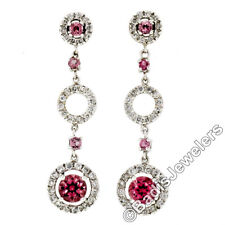 New 14K White Gold 2.24ct Pink Sapphire & Diamond Halo Drop Dangle Post Earrings