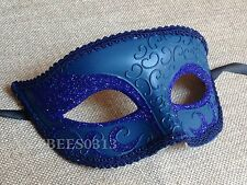 Blue Venetian One Eye Glitter Mardi Gras Costume Masquerade Custom Party Mask
