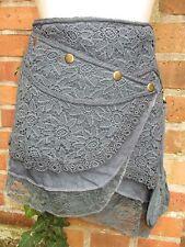 Wickelrock joma chapati Spitze Goa Mittelalter kurz jeans blau S M L XL Hippie