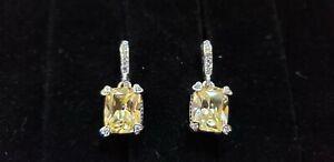 JUDITH RIPKA 18K WHITE GOLD, CANARY CRYSTAL & DIAMOND LOLA EARRINGS NO RES