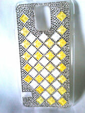 Samsung Galaxy Phone Case With Rhinestone Blings Yellow/White And Clear
