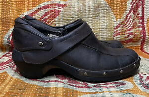 Merrell Luxe Wrap Womens Size 7 Espresso Brown Leather Mules Clogs Shoes J68680