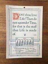 ANTIQUE MAY 1921 CALENDAR OSBOLDSTONE CO MELBOURNE PRINTER FRANKLIN