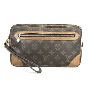 100% Authentic Louis Vuitton Marly Dragon Ne Clutch Bag M51825 Used 1079-5-e