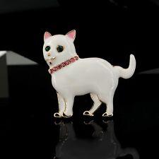 Broche Pequeña Gato Esmalte Blanco Cristal Rosa Negro Van Gogh Retro Clase XZ6