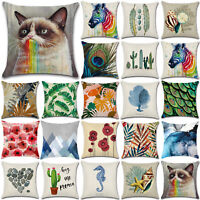 "18x18"" Pillow Case Cotton Linen Sofa Bed Throw Waist Cushion Covers Home Decor"