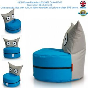 kids Owl Bean Bag420D Flame Retardant BS 5852 Oxford PVC50cm (D)x 54cm (H) B/G