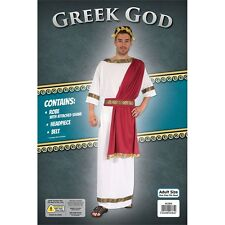 White & Red Men's Greek God Costume - Roman Fancy Dress Adult Mens Toga Outfit
