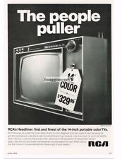 "1968 RCA Headliner 14"" Portable Color TV Vtg Print Ad"