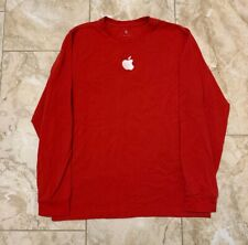 Apple Logo Embrodiered Employee Red Long Sleeve Shirt Size Men's Medium NEW