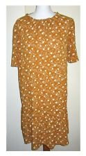 FAT FACE MUSTARD WITH BUFF FLORAL TIERED DRESS, SHORT SLEEVES SIZE 14 UK 42 EU