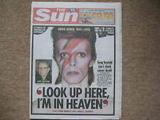 The Sun UK Newspaper Dated 12/01/2016 David Bowie Death & Obituary UNREAD