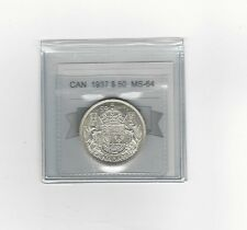 **1937**Coin Mart Graded Canadian Silver 50 Cent, **MS-64**