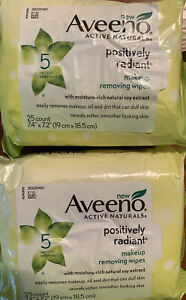 2 PACK NEW AVEENO POSITIVELY RADIANT MAKEUP REMOVING WIPES 25 COUNT X 2 = 50