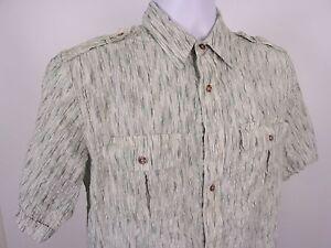 John Blair Button Up Shirt Size M Medium Green White Short Sleeve 100% Cotton