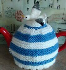 Hand-knitted pasty-pinching seagull Cornishware tea cosy
