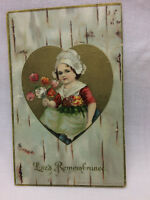 Vtg Embossed Girl Greeting Valentine Postcard Valentines Day Love Heart 1908