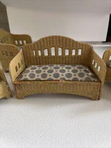 Antique Dollhouse Korbi WICKER 3 CHAIR 1 Sofa Gottschalk ? Furniture 3-5 in