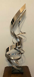 """Signed Original Modern Kinetic Abstract Metal Table Sculpture Art Piece - 41.5"""""""